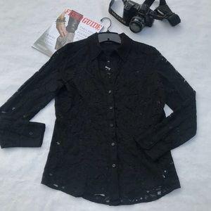 ✔️New York & Company Like New Stretch Lace Shirt